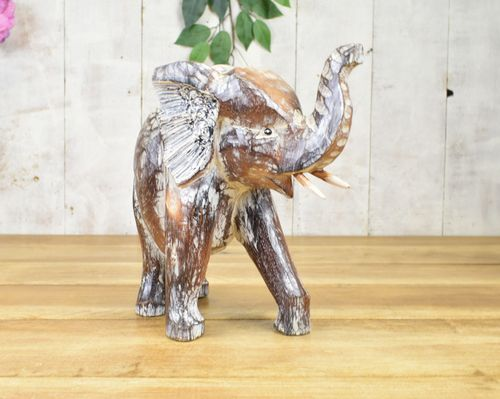 Standing Wood Carved Elephant 15cm